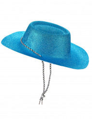 Blå glittrig cowboyhatt