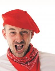 Röd basker i fransk stil - Hatt till maskeraden för vuxna