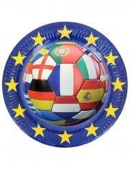 6 tallrikar med tryck av fotboll med många olika flaggor 23 cm