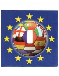 20 servetter med tryck av fotboll med många olika flaggor 33 x 33 cm