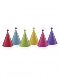 6 färgglada partyhattar med pomponger
