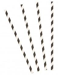 10 kartongsugrör i svart och vitt - Festdekoration