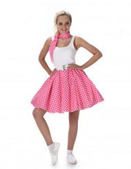 50-talskostym i rosa med prickar dam