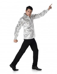 Silverblank discoskjorta herrar