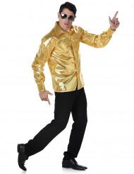 Guldfärgad Discoskjorta med paljetter