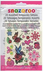 20 blommiga fuskatueringar från Snazaroo™ - Kalaskul