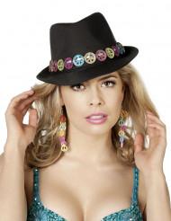 Svart hatt i peace & love tema för vuxen