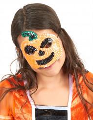 Halvmask för barn med paljetter som föreställer pumpa till Halloween