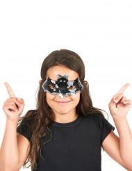 Halvmask för barn med paljetter som föreställer fladdermus till Halloween