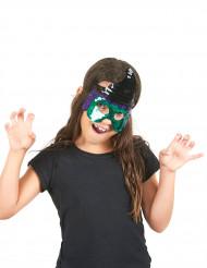 Grön häxmask för barn med paljetter till Halloween