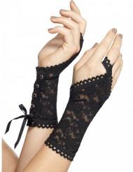 Svarta spetshandskar - Halloweentillbehör