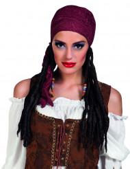 Piratperuk med vinröd bandana