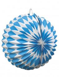 2 lyktor i blå-vitt rutmönster 22 cm