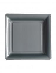 12 gråa fyrkantiga plasttallrikar - Julpynt