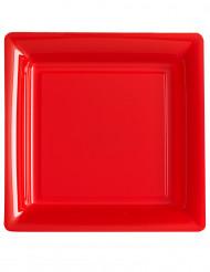 12 röda, fyrkantiga plasttallrikar