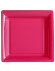12 neonrosa fyrkantiga tallrikar 23,5 cm