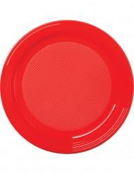30 röda plasttallrikar 22 cm