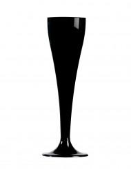 8 Svarta Champagneglas av plast 10 cl