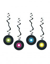 4 mobiler som föreställer vinylskivor i brandsäkert papper 80 cm