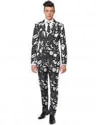 Svart kostym med vita tryck Suitmeister™ vuxen Halloween