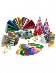 Liten väska med partytillbehör i alla färger för 10 personer