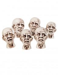 6 små zombiehuvuden 8 x 5 cm - Halloweenpynt