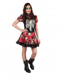 Maskeraddräkt skelett med rosor tonåring Día de los muertos