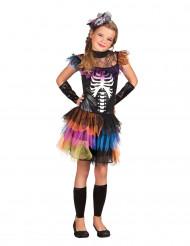 Skelettdräkt med färgglad tyllkjol till Halloween för barn