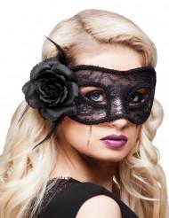 Svart ögonmask med rosa spets