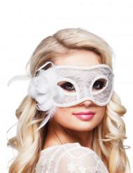 Vit ögonmask med ros och spets
