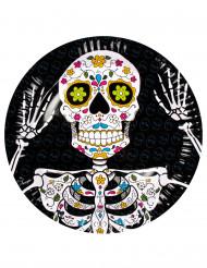 6 kartongtallrikar med Calavera - Dia de los Muertos dekor
