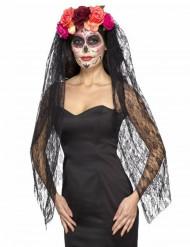 Lyxig dyster slöja med rosor - Dia de los Muertos accessoar