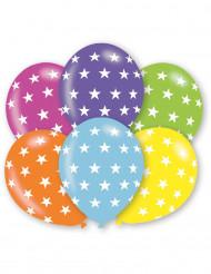 6 Färgglada ballonger med stjärnor