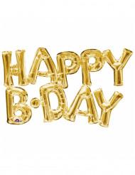 Happy Birthday - Aluminium ballong i guld 76 cm
