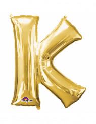 Bokstaven K - Aluminiumballong i guld 33 cm
