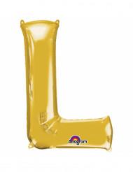 Bokstaven L - Aluminiumballong i guld 33 cm