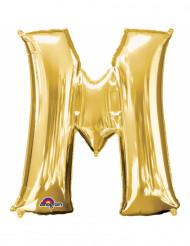 Bokstaven M - Aluminiumballong i guld 33 cm