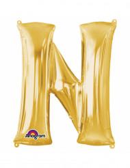 Bokstaven N - Aluminiumballong i guld 33 cm