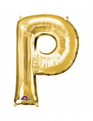 Bokstaven P - Aluminiumballong i guld 33 cm