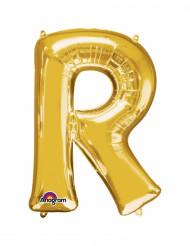 Bokstaven R - Aluminiumballong i guld 22 x 33 cm