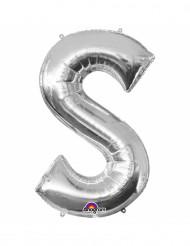 Bokstaven S - Aluminiumballong i silver 33 cm