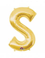 Bokstaven S - Aluminiumballong i guld 33 cm