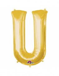 Bokstaven U - Aluminiumballong i guld 33 cm