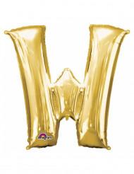 Bokstaven W - Aluminiumballong i guld 33 cm