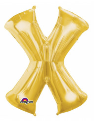 Bokstaven X - Aluminiumballong i guld 35 cm