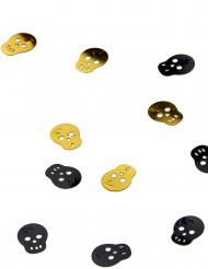 Dödskallekonfetti i guld och svart - Festdekoration