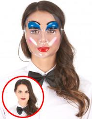 Genomskinlig mask sminkad