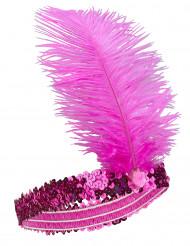 CharlestonPannbandmed fjäder rosa