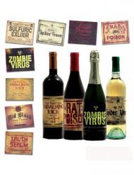 8 Flasketiketter - Halloweenpynt
