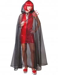 Mantel transparent svart Halloween vuxen